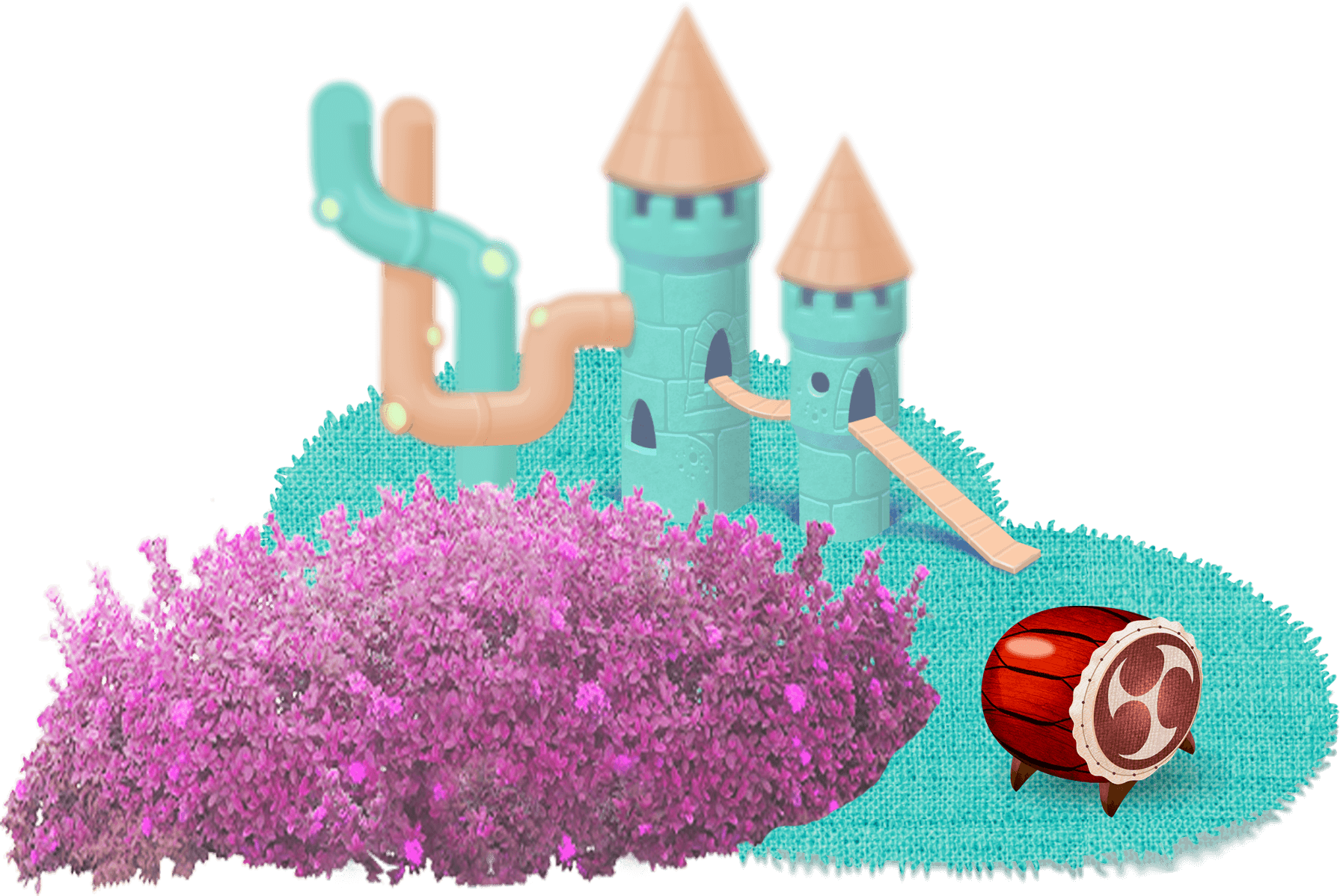 Towers on the grass, bushes and barrel